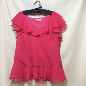 Peplum Blouse Hot Pink Ruffle Capped Sleeves Cato